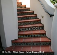 ceramic tiles staircase -- [REPINNED by All Creatures Gift Shop]  Wouldn't you just feel seriously rich walking up your own stairs if they looked like this?  You can keep the treads wood if you have it, and just tile the riser.  Much less work.  Even I could do that, LOL.