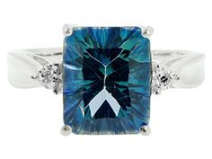 Diamond and Emerald Cut Mystic Teal Blue Topaz Sterling Silver Ring Available Exclusively at Gemologica.com