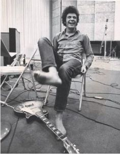 Mike Bloomfield in the studio recording Super Session, LA May 1968