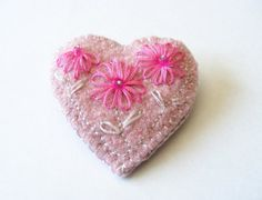 Pink  Recycled Sweater Heart Pin by SueandSew on Etsy, $10.00