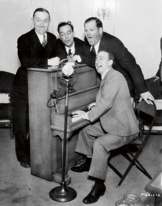 """Stan Laurel, Buster Keaton, Oliver Hardy and Jimmy Durante. MGM, ca. 1931 