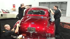 Derek Bemiss, Kevin Brown, and Jason Rose workin on 40 Olds in the House of Kolors booth at SEMA 2013 - Obsessive Car Detailing - www.ocdcarcare.com