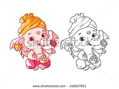 Little cartoon Ganesha. Page for coloring book. Vector illustration isolated on a white background. Disney Drawings Sketches, Art Drawings For Kids, Cartoon Sketches, Cartoon Art, Ganesha Drawing, Ganesha Painting, Ganesha Tattoo, Batman Coloring Pages, Coloring Books