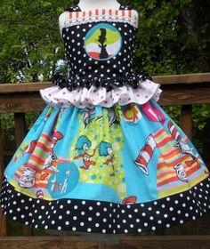 Custom Boutique Cat in Hat Dr Seuss Fabric Twirl Halter Skirt Girl 2 3 4 5 6