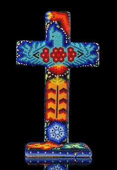 :D❤️HUICHOL INDIGENOUS ETHNIC CROSS DECORATED W SACRED SYMBOLS MEXICAN FOLK ART HS15