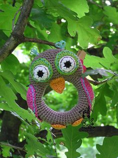 Owl crochet rattle - love