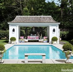 Design the Best Beautiful and Stunning Boxwood Garden Now – Hallstrom Home – Pool 2020 Backyard Pool Landscaping, Backyard Pool Designs, Swimming Pools Backyard, Backyard Pergola, Pergola Ideas, Backyard Cabana, Landscaping Ideas, Backyard With Pool, Outdoor Rooms