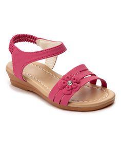 Fuchsia Flower Slip-On Sandal