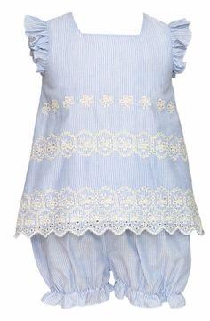 Anavini Infant / Toddler Girls Blue Stripe Embroidered Eyelet Bloomers Set