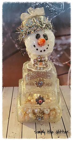 """Snowman Assemblage, Vintage Glass Bottle Snowman """"Mrytle"""", Bottle Snowman Decoration, Christmas Collectible, Snow Lady Original by SimplyTheGlitter on Etsy"""