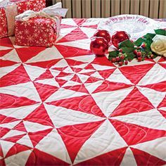 Graphic Red: FREE Two-Color One-Block Bed Quilt Pattern, adapted from a Quilt Designed by MELLIE WATTS