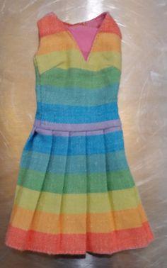 Vintage Black Label Barbie Dress #1619 Fun 'n Games Doll Clothing 1960's Pastel  #Mattel
