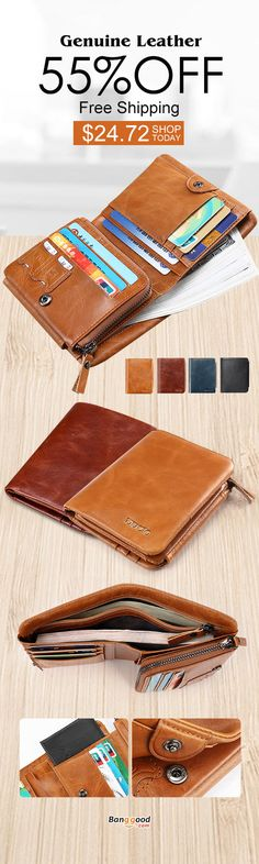 DEVICE Mens Work Wallet Genuine Leather Zip Money Cash Holder Card Pocket