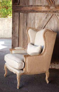 Charleston House - Burlap & Linen Wingback Chair