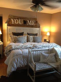 Super Cozy Master Bedroom Idea 25 - love the overhead art Master Bedroom Interior, Small Master Bedroom, Cozy Bedroom, Dream Bedroom, Home Interior, Home Decor Bedroom, Bedroom Wall, Interior Design, Master Bedrooms