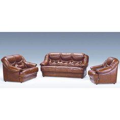 Malaga Italian Burgundy Leather Sofa Set