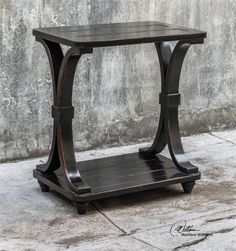 Uttermost Jomei Rubbed Black Accent Table (25651)