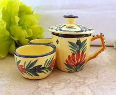 Quimper pottery cruet  mustard pot and salt by MaisonMaudie, $35.00