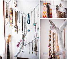 Branch repurposed as jewelry hanger