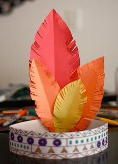 NATIVE AMERICAN HEADDRESS... Great craft for Thanksgiving time or learning about different cultures. Children can create their own feathers or use purchased ones. I would like them to add a string of beads attached.