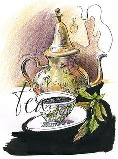 Tea and Teapot illustration Buch Design, Cuppa Tea, Festa Party, Tea Art, My Cup Of Tea, Tea Recipes, High Tea, Drinking Tea, Belle Photo