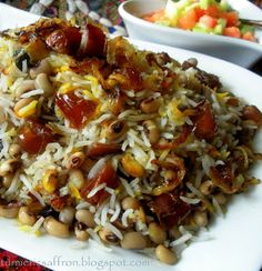 Turmeric & Saffron: Loobia-Cheshm-Bolboli Polow - Rice with Black-Eyed...