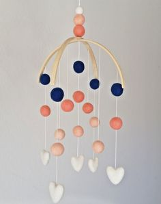 Coral and Navy Baby Mobile Felt Ball by MandysFavoriteThings