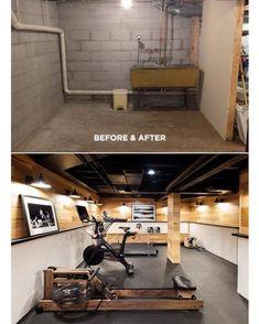 Basement transformed into a gym  .  .  .  .  .  .  .  .  .  .   #180remodel #homeimprovement #remodel #renovation #interiordesign #design #beforeandafter #homegym #modern #chic #luxury #designer #homedecor #decor #interior #interiors #interiores #interiordesigner #interiorstyling #interior123  #decoration #decoração #hogar #casa inspoprovider: theeverygirl.com #luxurygym