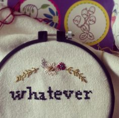 'Whatever' Embroidery Cross Stitch  ( WIP) Cross Stitch Embroidery, Contemporary Art, Coin Purse, Illustration Art, Drawings, Coin Purses, Drawing, Portrait, Purse