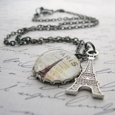 Paris is the love of my heart. Cameo Charm Necklace with Eiffel Tower dangle