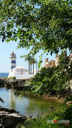 dating back to the Santa Marta's lighthouse blue and white striped tower is one of Cascais most recognisable sights. Santa Marta, Fishing Villages, Lighthouses, Lisbon, 19th Century, Portugal, Tower, Dating, Blue And White