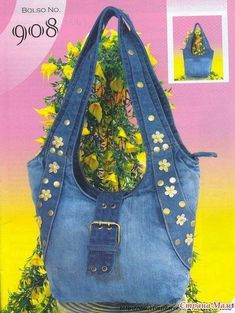 Sewing fabric bags: patterns and diagrams Jean Purses, Purses And Bags, Denim Handbags, Denim Purse, Denim Ideas, Denim Crafts, Recycled Denim, Patchwork Bags, Fabric Bags