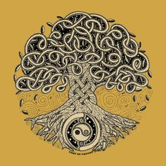 Tree of Life. I love this as a tattoo idea - interdependence + Qi yin and yang  and is that something to do with Celtic knots in the middle?... almost exactly what I want... well almost.