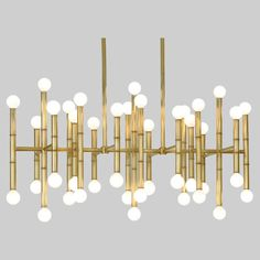 Information: Robert Abbey Jonathan Adler Meurice Chandelier Features: Globes of light pop from a bamboo-like frame, giving the Robert Abbey Meurice Rectangular