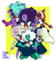 Malachite= drama geek, Opal= prep, Rainbow Quartz= Popular girl, Sugalite= jock, Sardonyx= class clown, Alexandrite= badass at heart