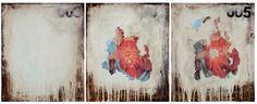 Alejandro Azurdia // Guatemala //  Obra: Apariciones (tríptico) // Técnica mixta sobre litografía/tela