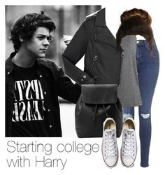 """Starting college with Harry"" by style-with-one-direction ❤ liked on Polyvore featuring Topshop, Marc by Marc Jacobs, MANGO, Converse, OneDirection, harrystyles, 1d and harry styles one direction 1d"
