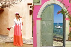 Bohemian look dress, goes well with pink gate.
