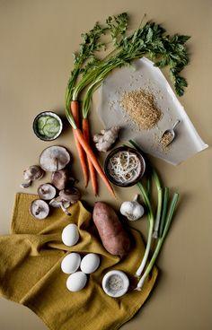Sweet Potato Bibimbap Ingredients. i love how silly and intense cooking blog photos get.