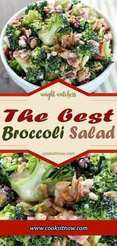 The best Broccoli Salad, Best Ever Broccoli Salad recipe is bursting with flavor!  The perfect addition to any BBQ, party, or potluck!   #broccoli #salad #grapes #almonds #bacon #recipe #summer #BBQ #potluck #easy