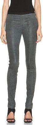 NWT $920 Helmut Lang Patina Strech Leather Dress Leggings,Gray Size 6