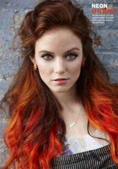 orange brown ombre hair