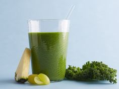 Get this all-star, easy-to-follow Green Smoothie recipe from Food Network Kitchen. This pretty green smoothie is packed with fiber, vitamin C and lutein (which may be good for eyesight). Keep frozen grapes in your freezer so you can whirl this up in a pinch for breakfast or for a healthy refresher any time of day.  Uses kale.