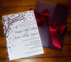 Purple Wedding Invitation Tree and Flowers by myweddingpaper, $1.00