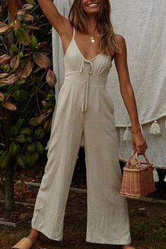 Elegant Sling V Neck Pure Colour Broad Leg Jumpsuits – chiclinen jumpsuit outfit jumpsuits casual jumpsuits for women jumpsuits and romper summer romper cute rompers Jumpsuit Casual, Jumpsuit Outfit, Summer Jumpsuit, Ladies Jumpsuit, Summer Romper, New Trend Dress, Fashion Outfits, Womens Fashion, Fashion Tips