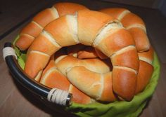 Kifli - light and fluffy savory twisty bun rolls made from a milky dough. Slovak Recipes, Hungarian Recipes, Pastry Recipes, Cooking Recipes, Hungarian Food, Good Healthy Recipes, Veggie Recipes, Dessert Drinks, Dessert Recipes