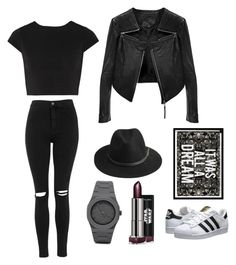 #BlackFashion by maangeles-1 on Polyvore featuring polyvore, fashion, style, Alice + Olivia, Linea Pelle, Topshop, adidas Originals, CC, BeckSöndergaard and Oliver Gal Artist Co.