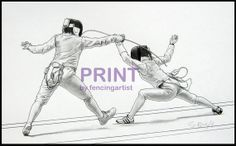 Women's Foil 7 Fencing Art Print by fencingartist on Etsy, $20.00 Beautiful prints in this Etsy shop