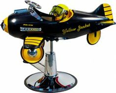 Lot 1049: Yellow Jacket Pedal Airplane Child's Barber Chair