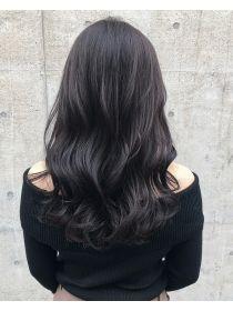 ダークカーキグレーパール 大人可愛い暗髪ハイライトカラー2